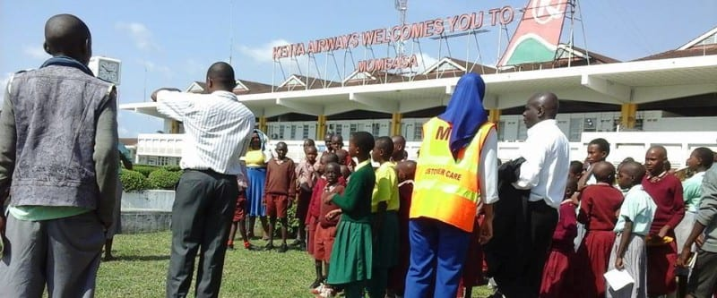 pupils at mombasa airport on an educational tour